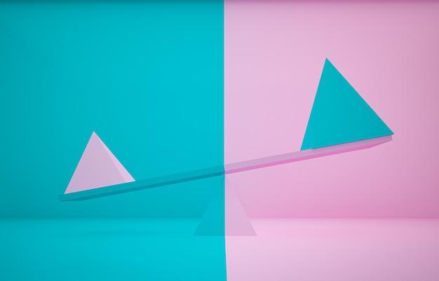 3d-rendering roze en blauwe piramide verschillende grootte op plank en verschillende kleur achtergrond