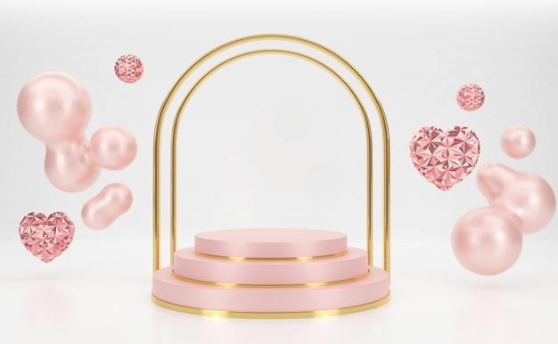 3d-rendering roze podium met gouden poort en harten zweven