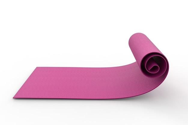 3d-rendering roze yoga mat oprollen op witte achtergrond