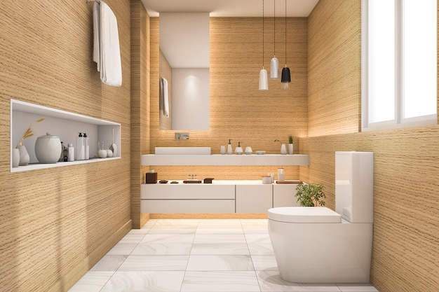 3d-rendering ruim en mooi toilet met wit hout design