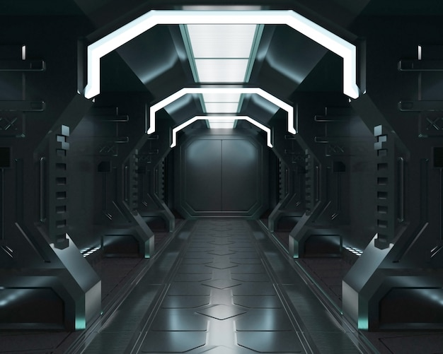 3d-rendering ruimteschip zwart interieur