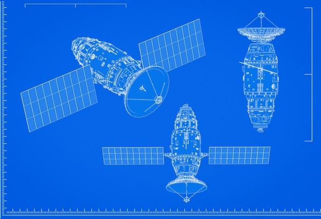 3d-rendering satellietschotel blauwdruk met schaal op blauwe achtergrond
