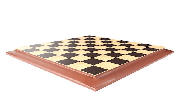 3d-rendering - schaakbord op een witte achtergrond