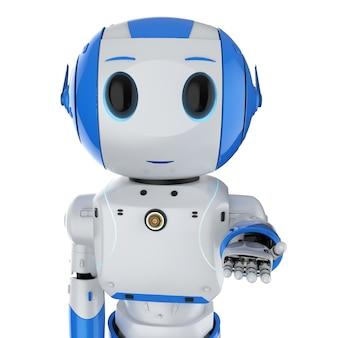 3d-rendering schattig kunstmatige intelligentie robot hand open met stripfiguur