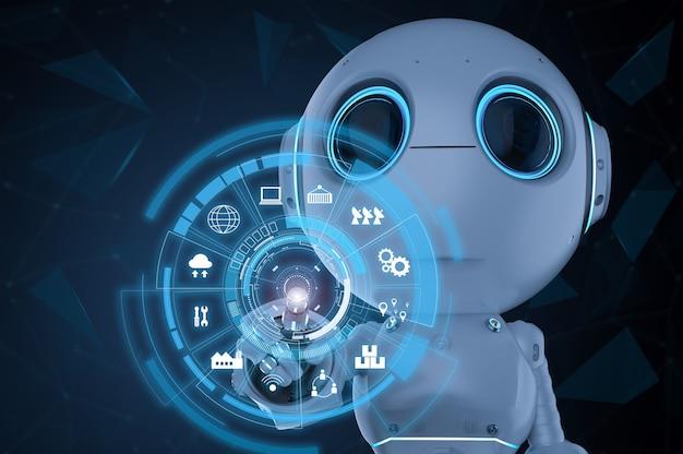 3d-rendering schattig kunstmatige intelligentie robot vingerpunt met hud-display