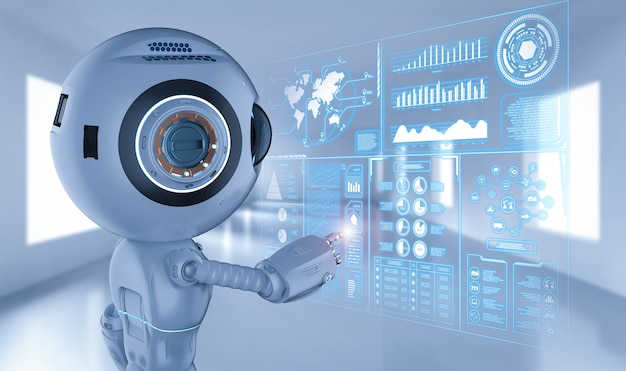 3d-rendering schattige kunstmatige intelligentie robot met hud-display