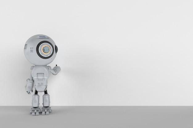 3d-rendering schattige kunstmatige intelligentie robot met leeg bord