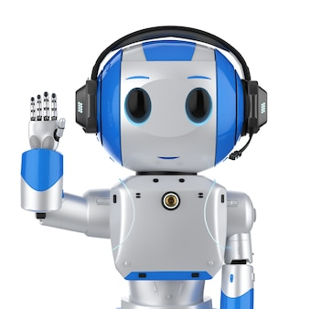 3d-rendering schattige kunstmatige intelligentie robot met stripfiguur dragen headset