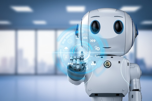 3d-rendering schattige kunstmatige intelligentie robot met stripfiguur