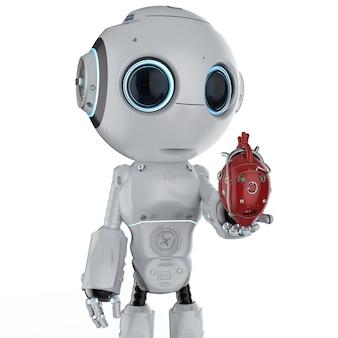 3d-rendering schattige kunstmatige intelligentierobot met rood robothart