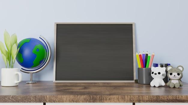 3d-rendering schoolbord op houten tafel met kat en beer pop.