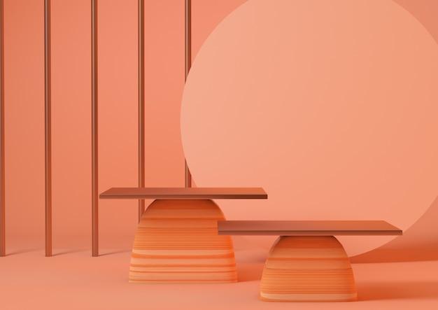 3d-rendering schoon product koraal sokkel platform studio weergave scène minimaal abstract