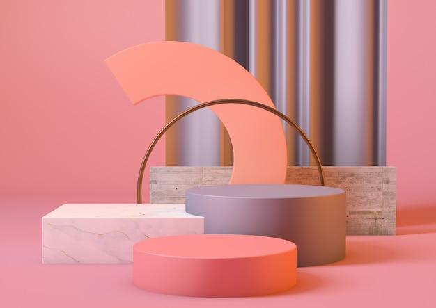 3d-rendering schoon product voetstuk platform in roze kleuren