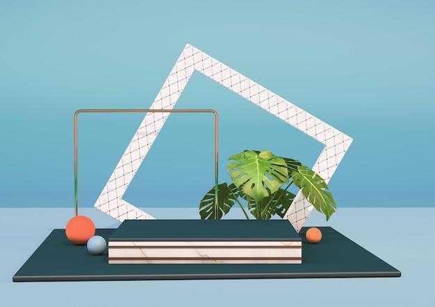 3d-rendering schoon product voetstuk platform met een plant en een wit frame op een blauwe achtergrond