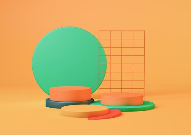 3d-rendering schoon product voetstuk platform studio in turquoise kleuren en oranje achtergrond