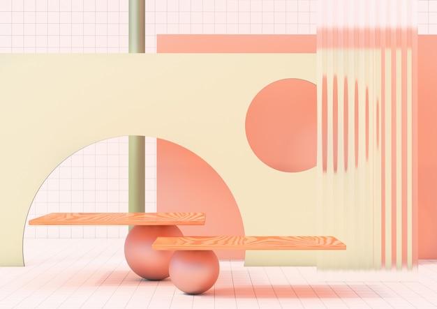3d-rendering schoon product voetstuk platform studio weergave scène minimale abstract