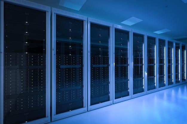 3d-rendering serverruimte of servercomputers