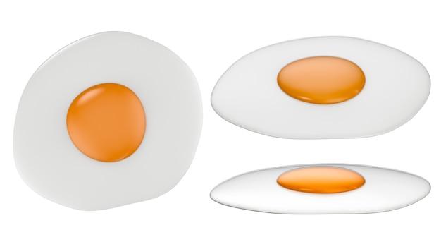 3d-rendering set gebakken eieren geïsoleerd op wit