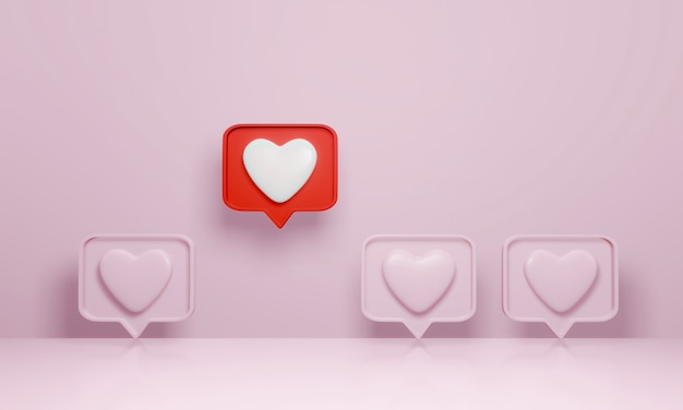 3d-rendering, sociale media-melding zoals hartpictogram in rode tekstballonpen onderscheiden zich van de menigte op roze