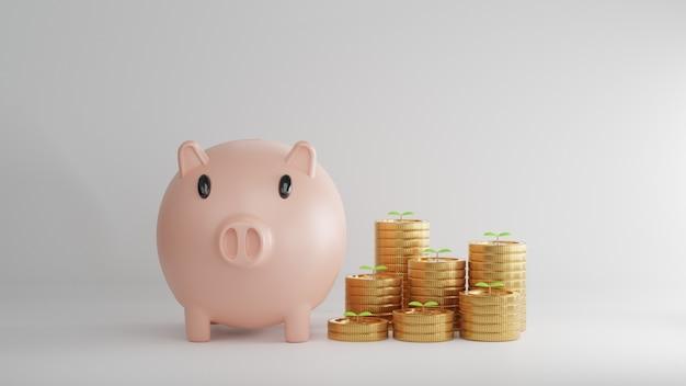 3d-rendering. spaarvarken met munten. concept van sparen of geld, investeringen in de bank.
