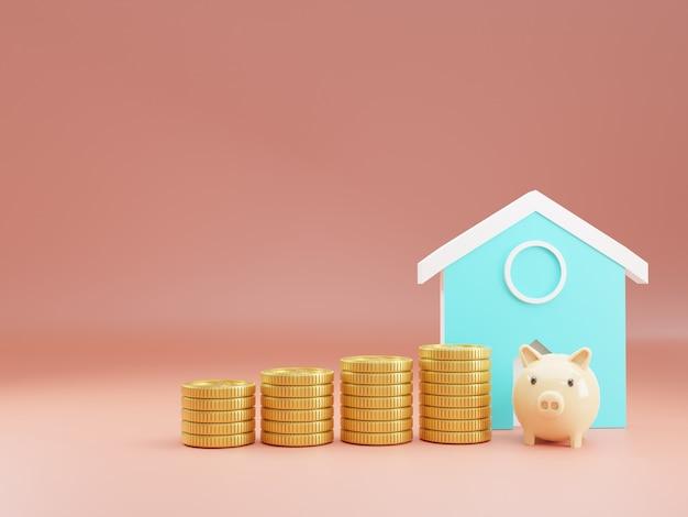 3d-rendering, spaarvarkenhuis en stapel gouden munten die als onroerend goed en financieel gebruiken en begin concept te besparen