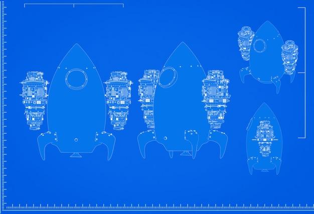 3d-rendering space shuttle blauwdruk met schaal op blauwe achtergrond