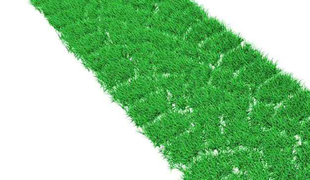 3d-rendering spoor van een auto bedekt met groen gras