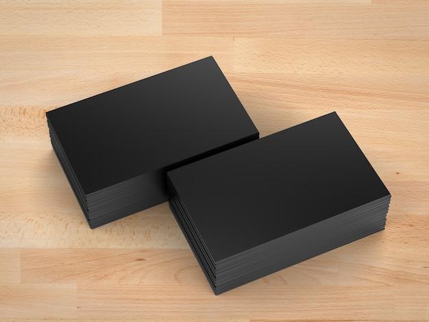 3d-rendering stapel zwarte naamkaartjes op houten tafel