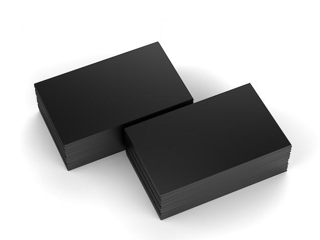 3d-rendering stapel zwarte naamkaartjes