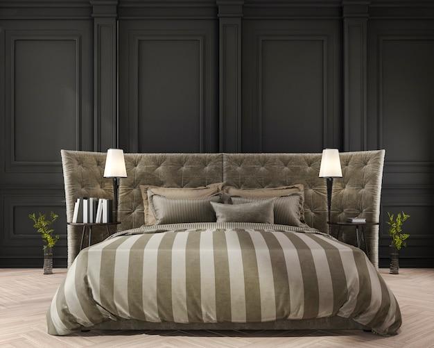 3d-rendering streep klassiek bed in klassieke slaapkamer