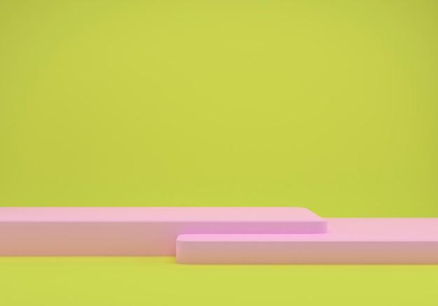 3d-rendering studio met geometrische vormen, podium op de vloer