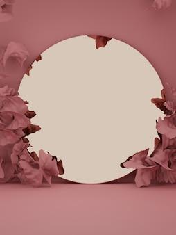 3d-rendering studio-opname vintage abstracte bloemblaadjes en gouden spiegel productweergave-achtergrond