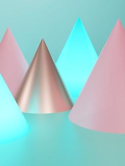 3d-rendering studio shot seizoensgebonden of feestelijke achtergrond met minimale roze goud en turquoise gloeiende kegels voor schoonheid en gadget product display