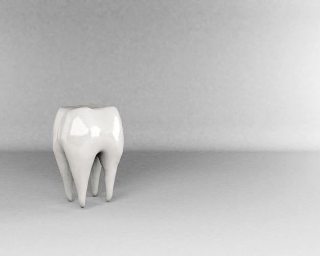 3d-rendering tand op grijze achtergrond