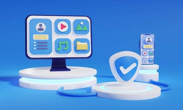 3d-rendering telefoon en desktop met pictogrammen voor mediabestanden