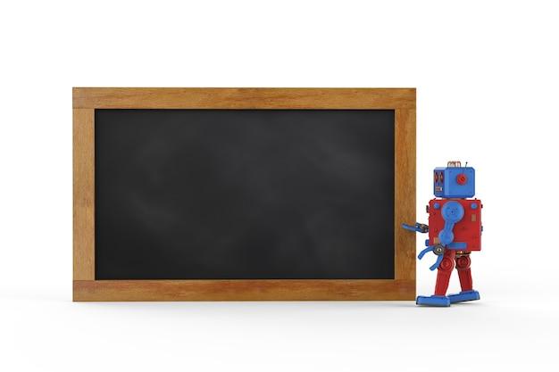 3d-rendering tintoy robot met leeg schoolbord