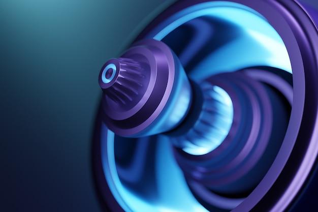 3d rendering toekomstige motor raketturbine technologie onder blauw en paars licht. futuristisch deel van een ruimtevaartuigturbine