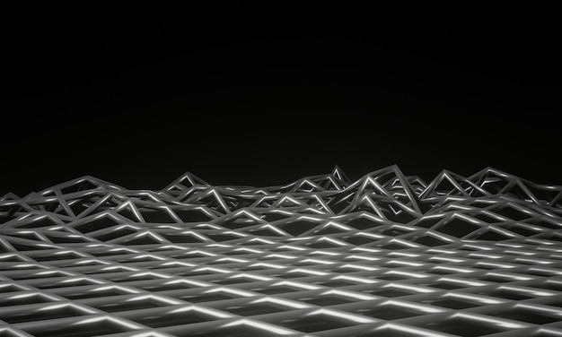 3d-rendering topografisch metalen draadframe