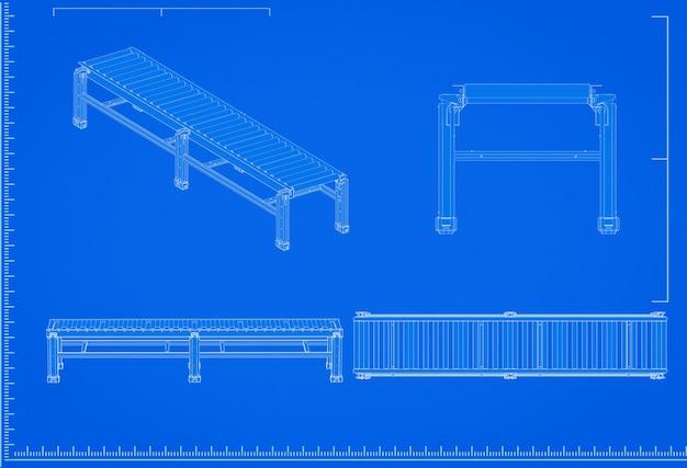 3d-rendering transportband lijn blauwdruk met schaal op blauwe achtergrond