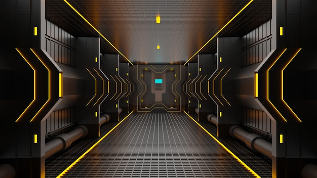 3d-rendering tunnel high-tech technologie sci-fi abstracte achtergrond