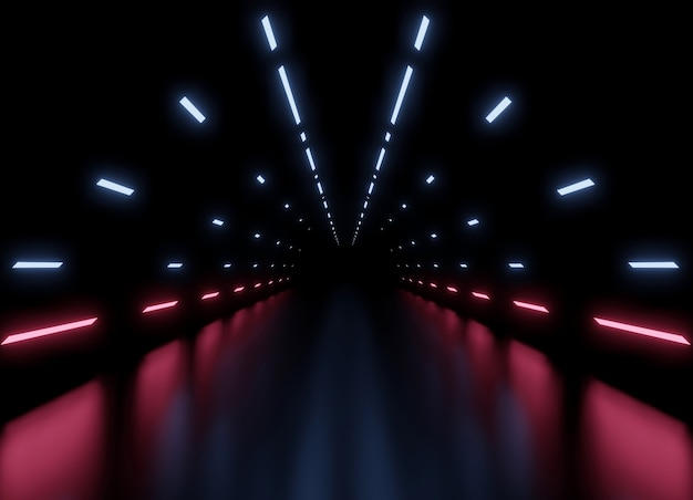 3d-rendering tunnel ruimteschip donkerblauwe en roze interieur achtergrond