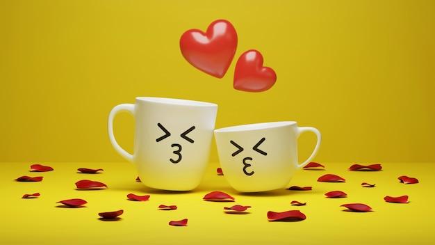 3d-rendering, twee koffiekopjes met rode harten die van hen frituren op gele achtergrond