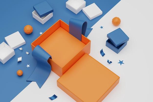 3d-rendering unboxing geschenkdozen. open lege geschenkdoos en accessoires, online winkelen concept.