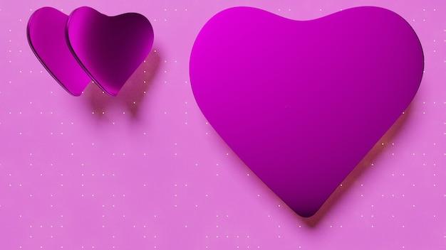 3d-rendering valentijnsdag hartvormige roze