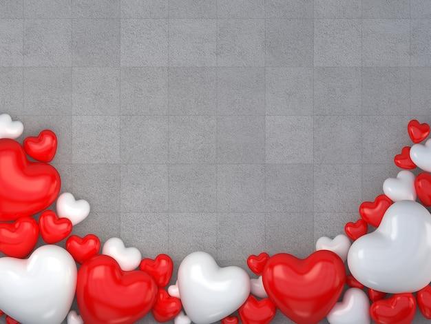 (3d-rendering) valentijnsdag met rode en witte hartvorm op de grijze vloer
