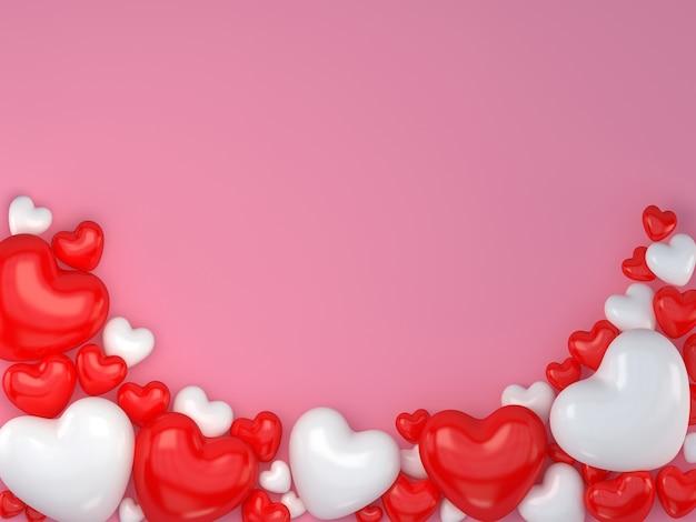 (3d-rendering) valentijnsdag met rode en witte hartvorm op de roze vloer Premium Foto