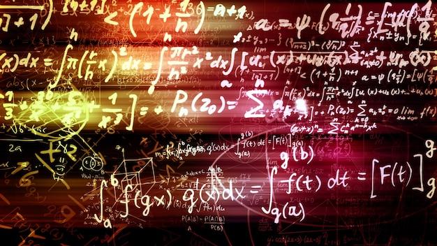3d-rendering van abstracte blokken van wiskundige formules die zich in de virtuele ruimte bevinden