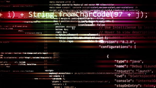 3d-rendering van abstracte codeblokken die zich in de virtuele ruimte bevinden