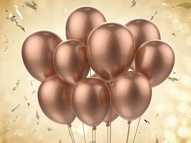 3d-rendering van een bos ballonnen