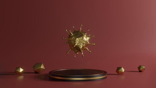 3d-rendering van gouden coronavirus op voetstuk op rode achtergrond, abstract minimaal concept van 2019-ncov uitbraakvormen zoals sars en mers kunnen dodelijk zijn, luxe minimalistisch